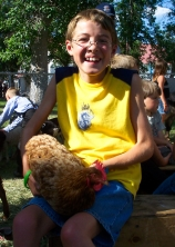 Christian at the petting zoo at the Lewistown Fair.